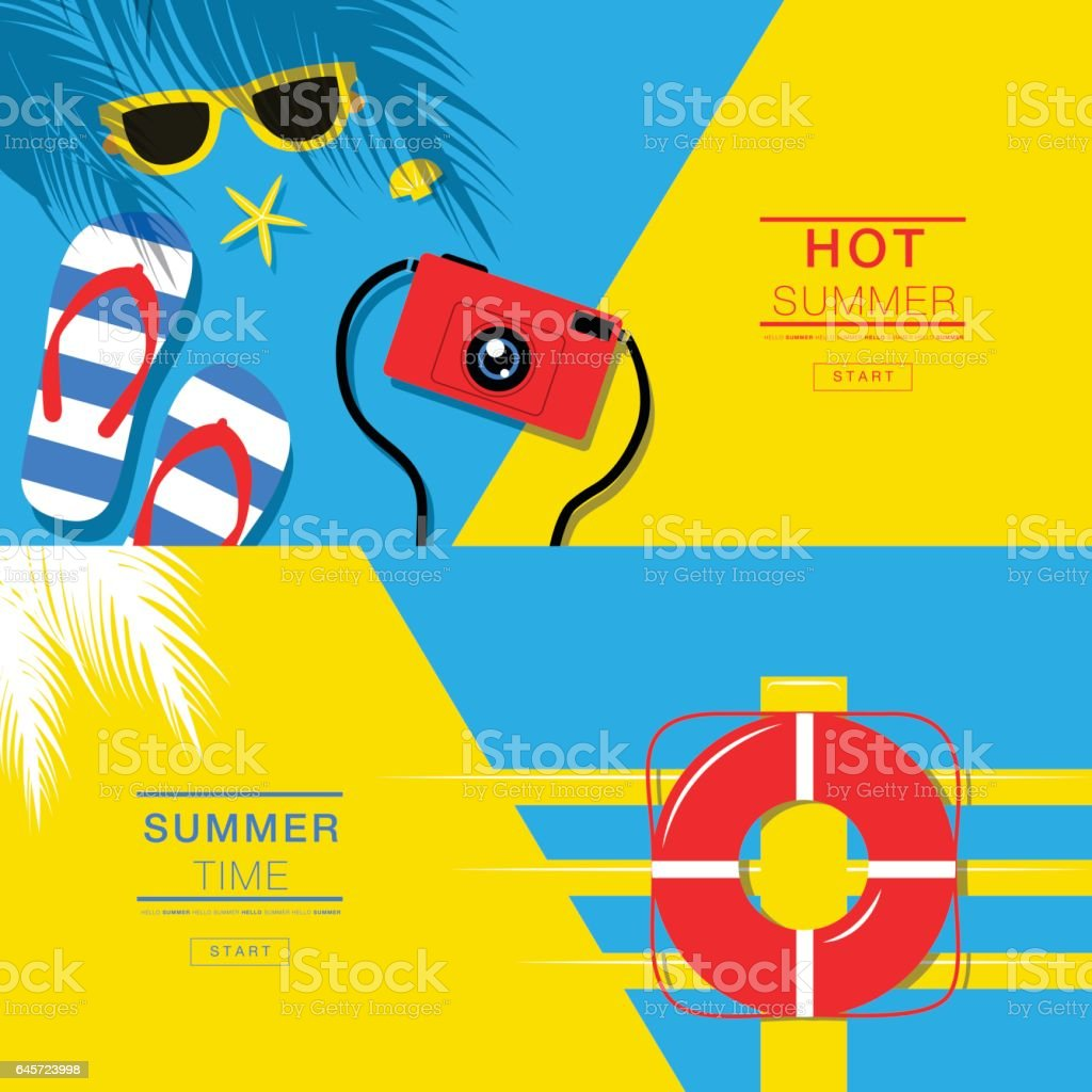 Summer tropical vacation backgrounds design, banner layout, flat lay, vector illustration. vector art illustration
