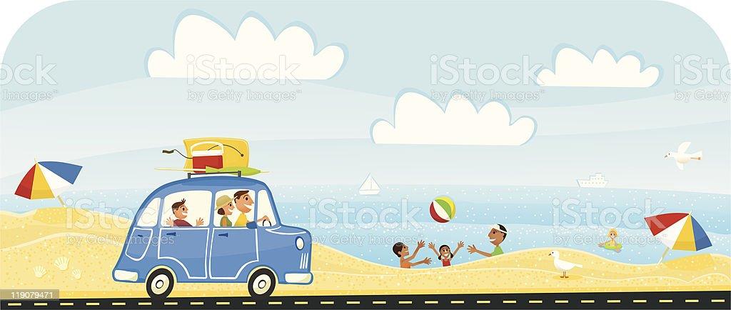 Summer Vacation at the Beach vector art illustration