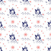 Summer vacation background. Seamless pattern with funny penguin. Leisure
