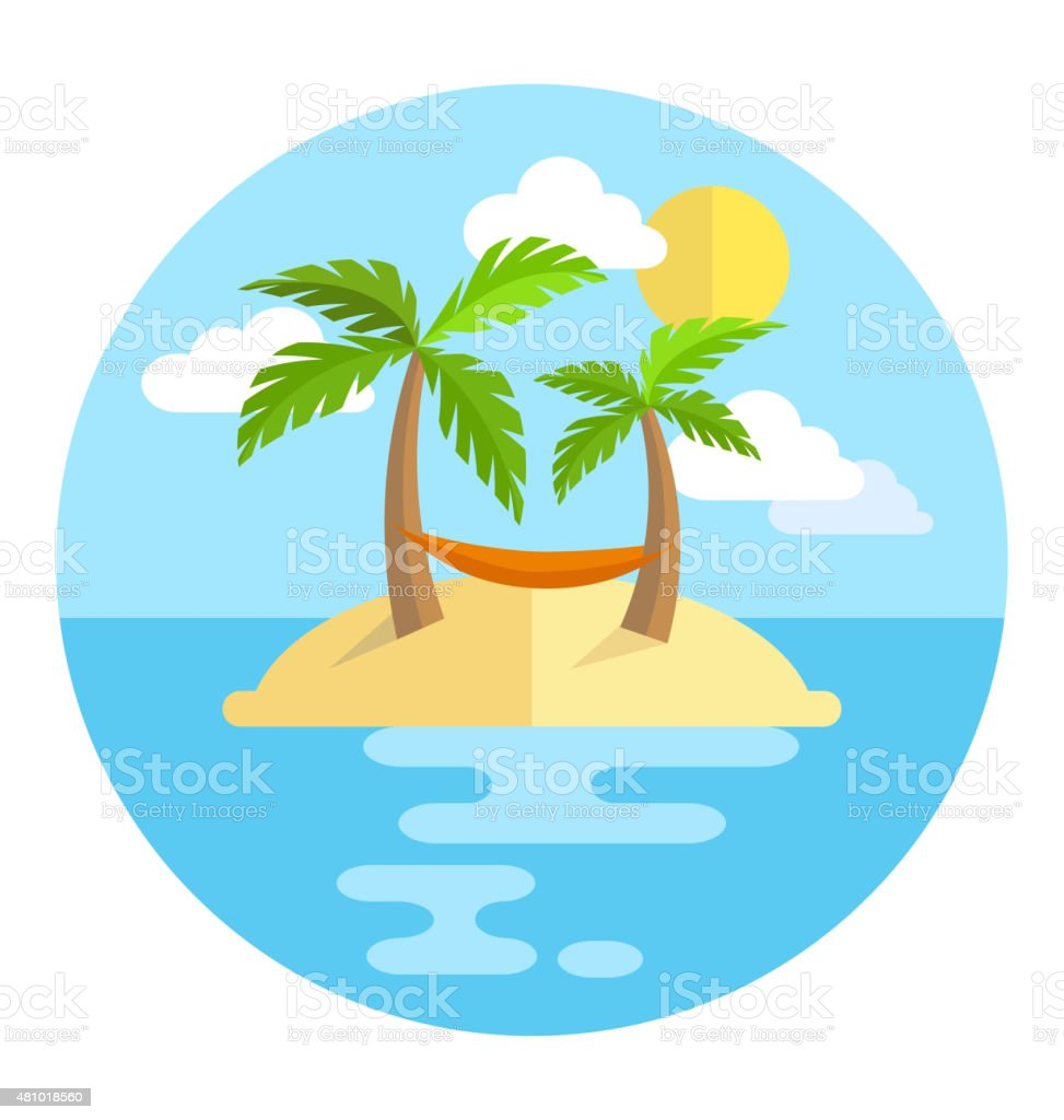 Summer vacation circle icon island with palms sun and hammock vector art illustration
