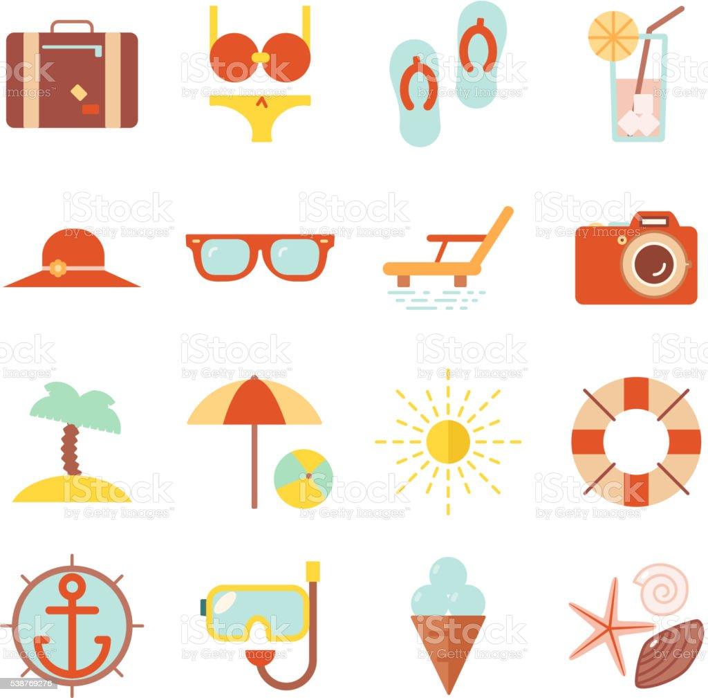 Summer vacation color beach resort accessorize vector symbols icon flat vector art illustration