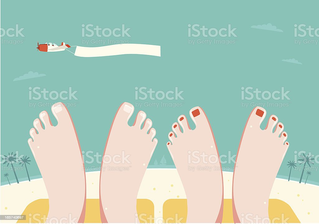 Summer Vacation: Couple relaxing on Beach as Plane Flies By royalty-free stock vector art
