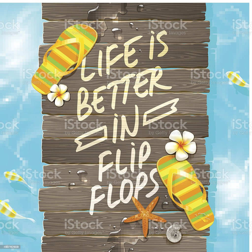Summer vacation design - Wooden gangway with flip-flops and saying vector art illustration