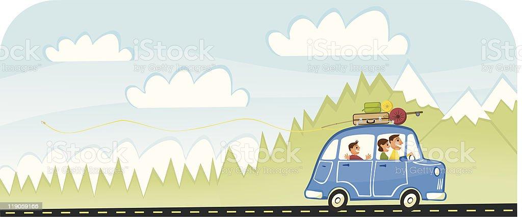 Summer Vacation Family Road Trip vector art illustration
