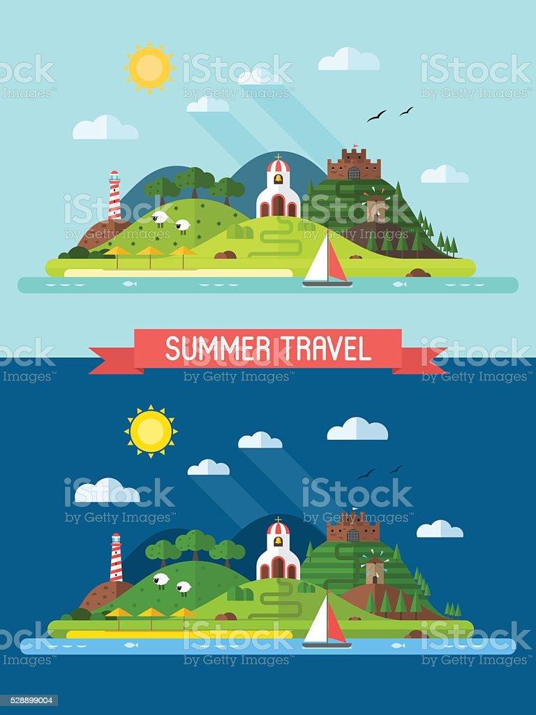 Summer Vacation Flat Design Island Landscape vector art illustration