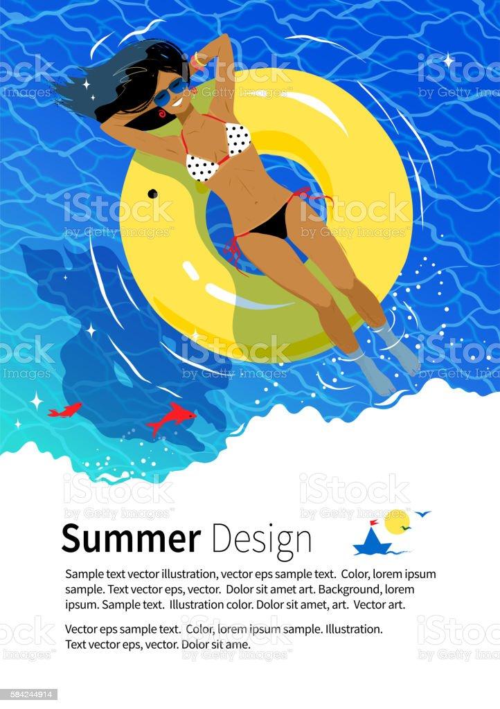Summer vacation flyer design vector art illustration