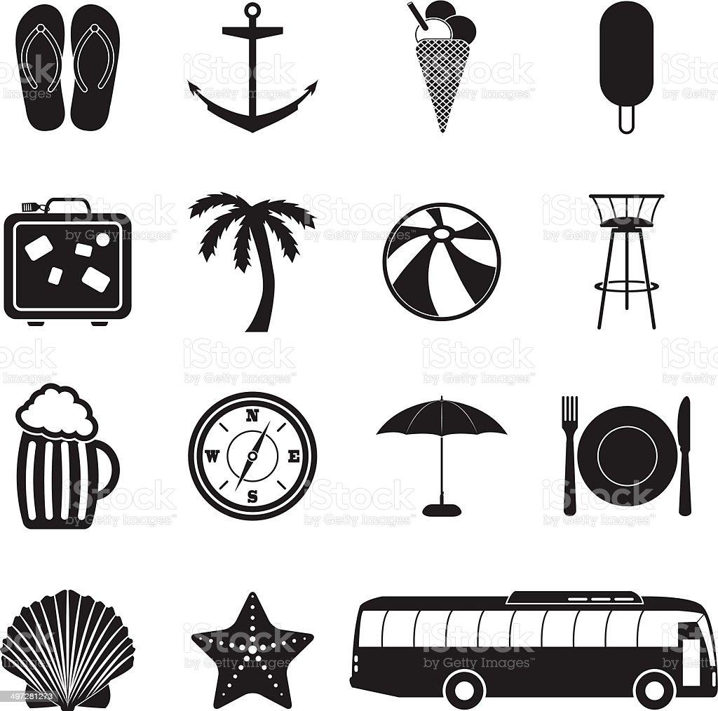 Summer vacation icons set royalty-free stock vector art