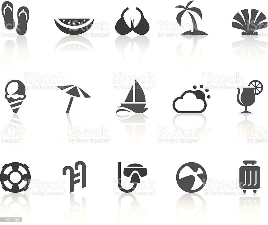 Summer Vacation Icons | Simple Black Series royalty-free stock vector art