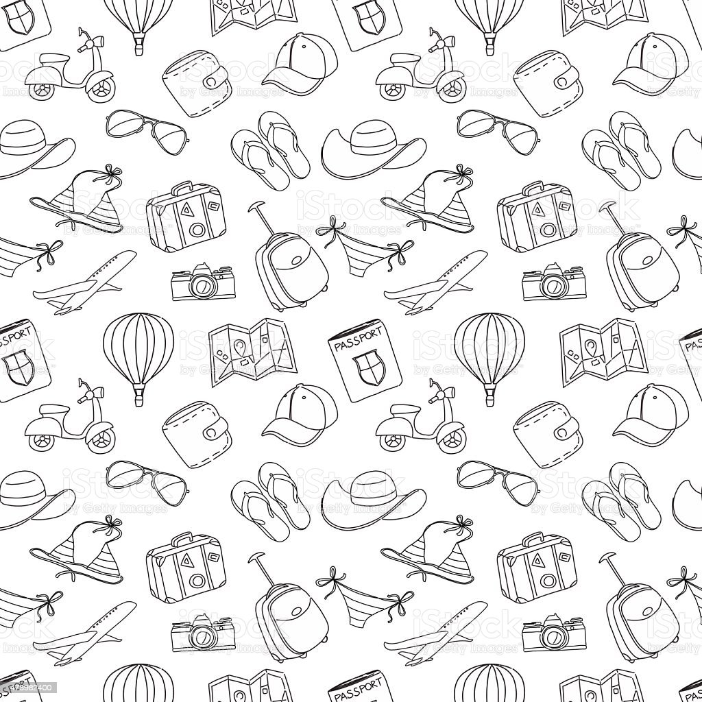 Summer vacation sketch doodle seamless pattern. Black and white vector art illustration