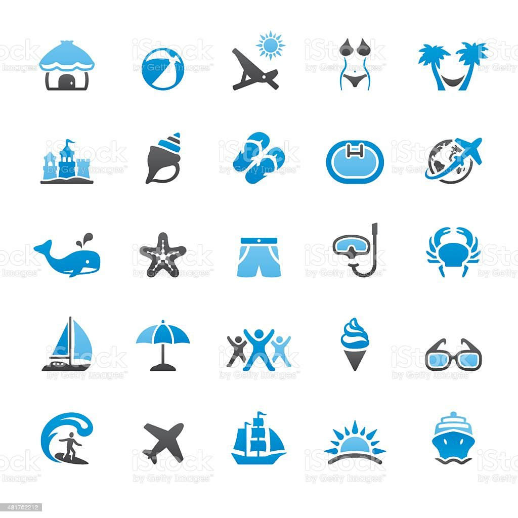 Summer Vacations related vector icons vector art illustration