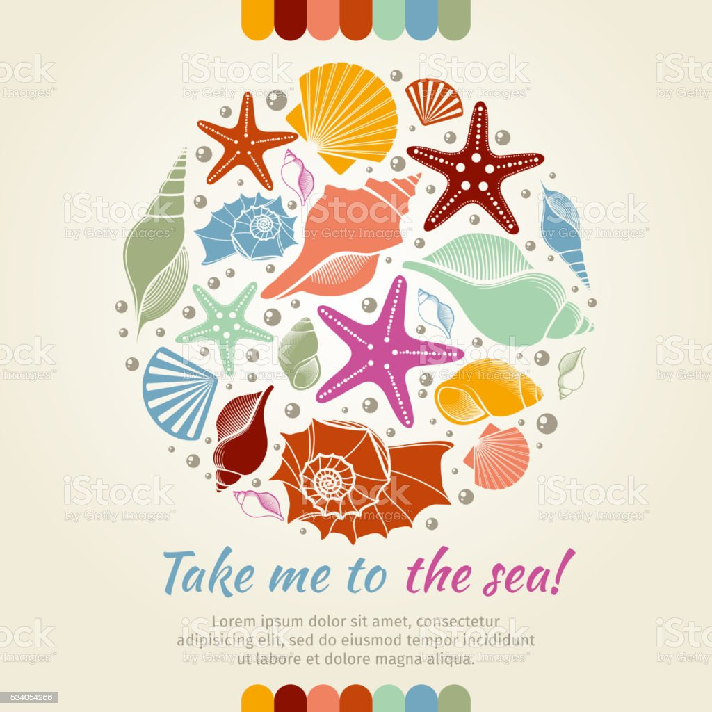 Summer vector concept with shells and sea stars vector art illustration