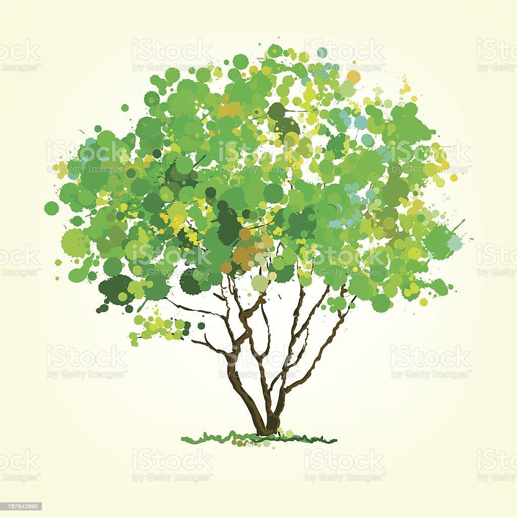 blots árvore de vetor de verão vetor e ilustração royalty-free royalty-free