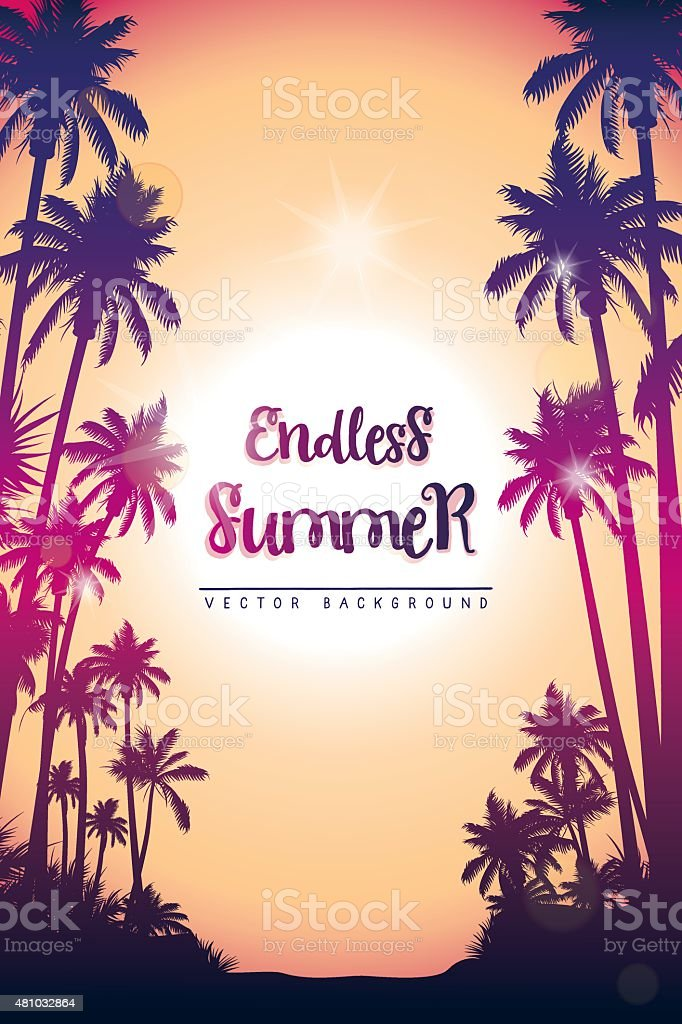 Summer vertical background with palm trees vector art illustration