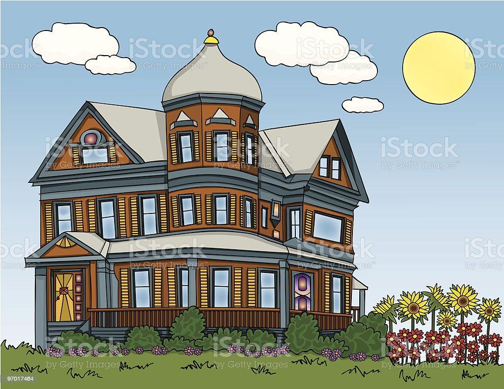 Summer Victorian House vector art illustration
