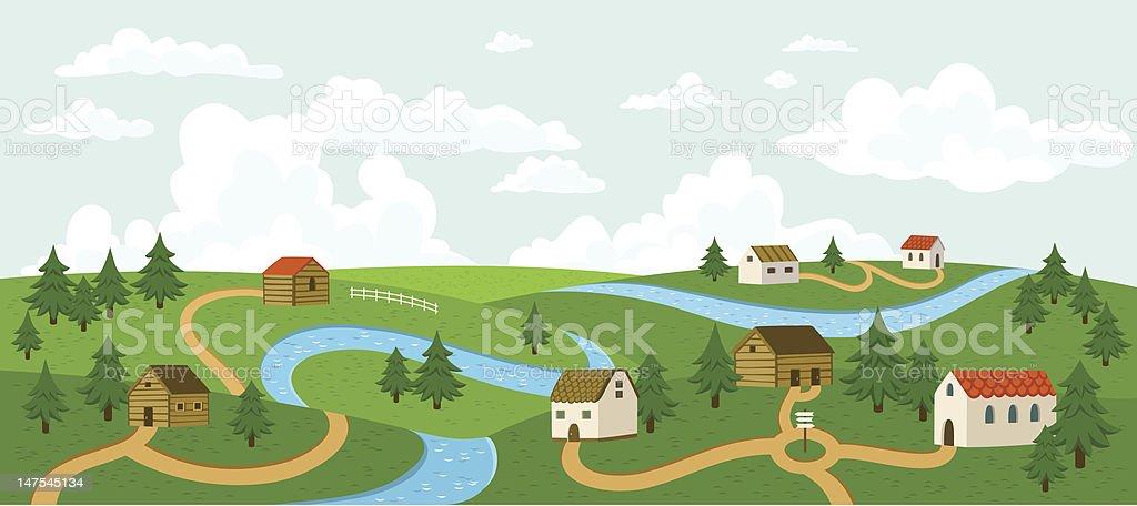 Summer village landscape vector art illustration