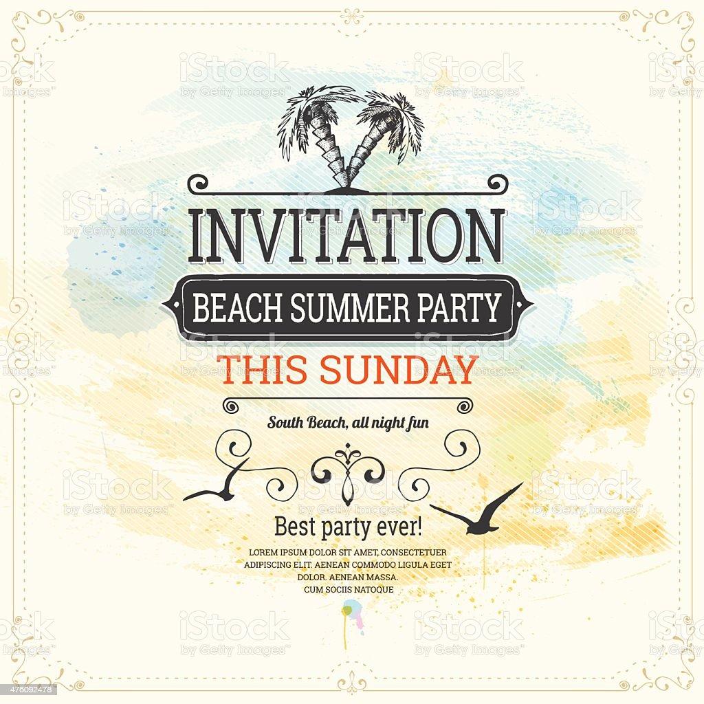 Summer Vintage Invitation Background vector art illustration