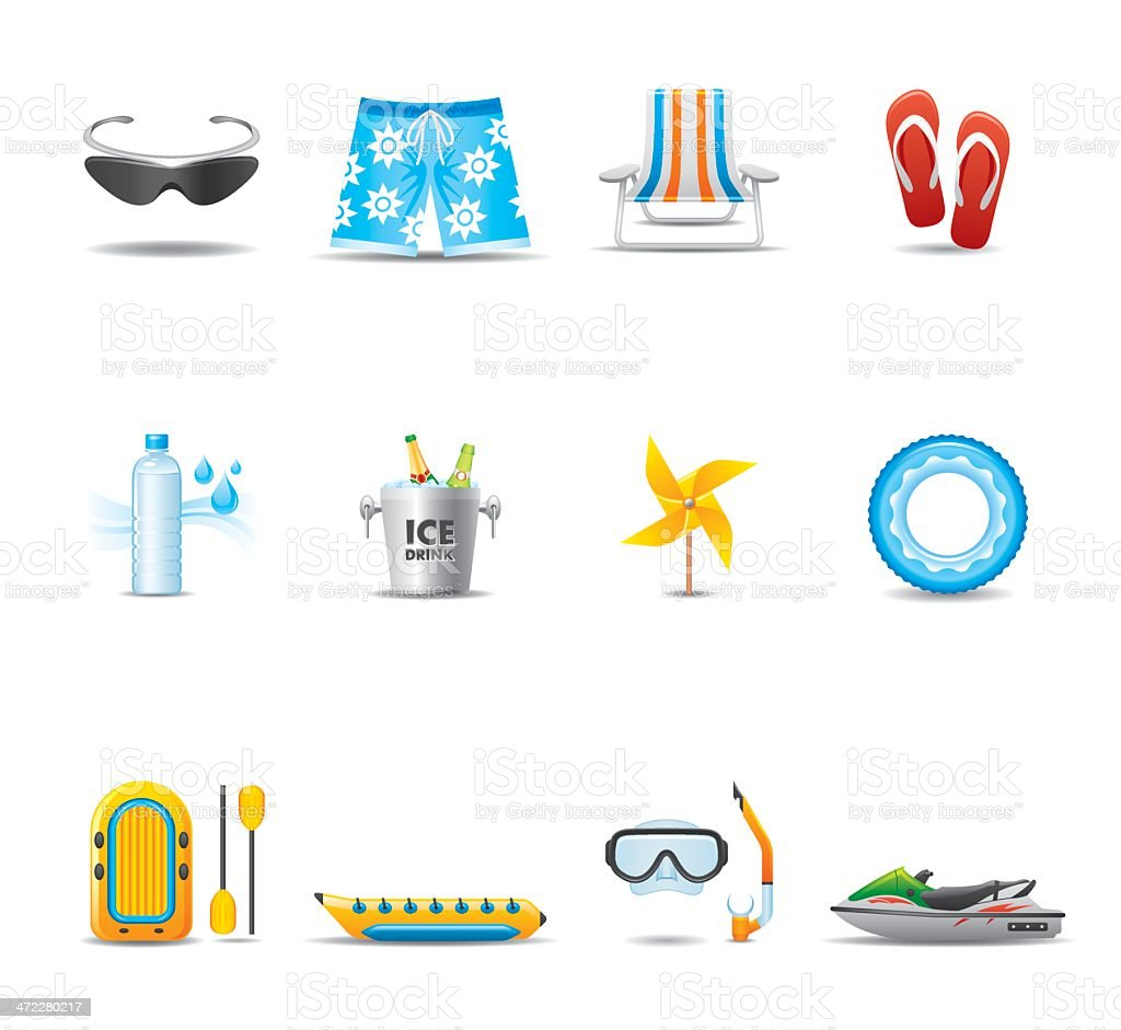 Summer & Water Sport Icon Set | Elegant Series royalty-free stock vector art