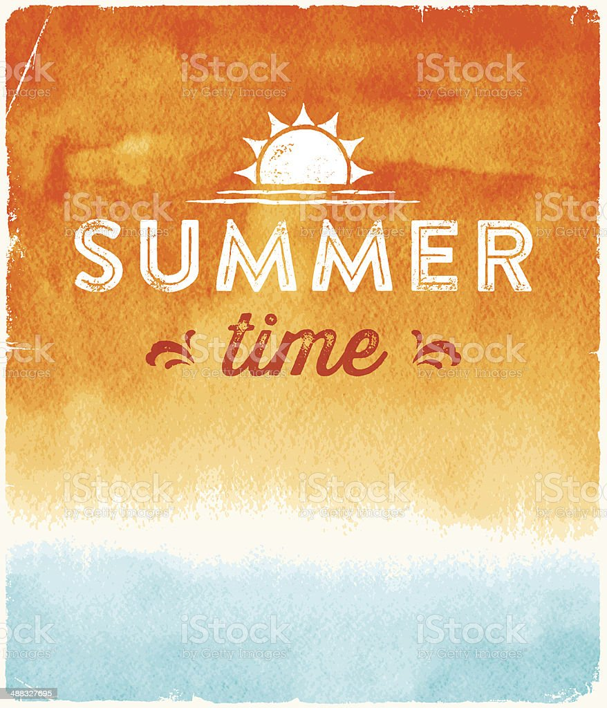 Summer Watercolor Background vector art illustration
