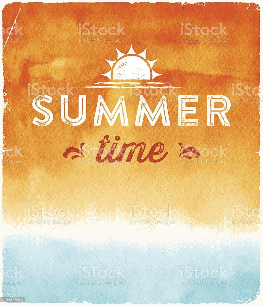 Summer Watercolor Background vector art illustration
