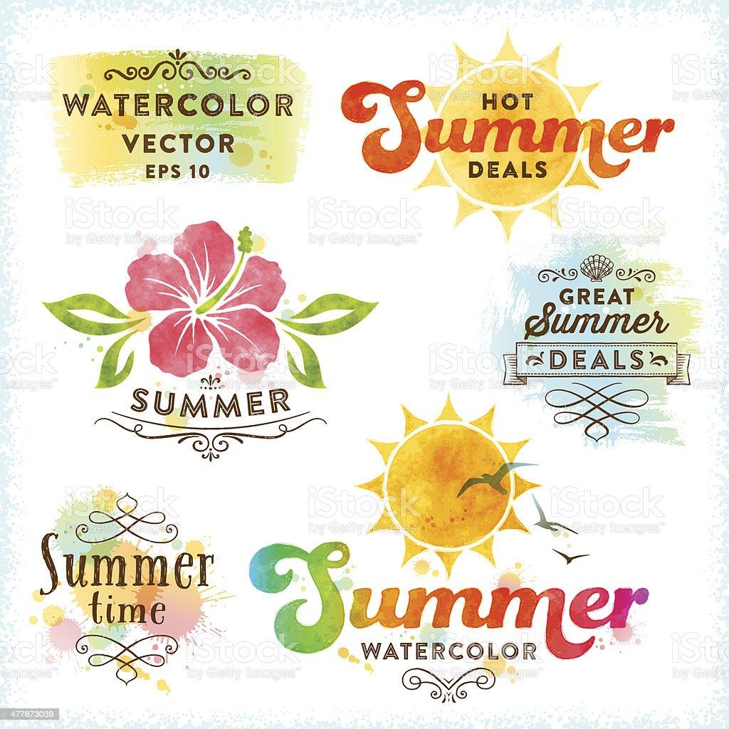 Summer Watercolor Design Elements vector art illustration