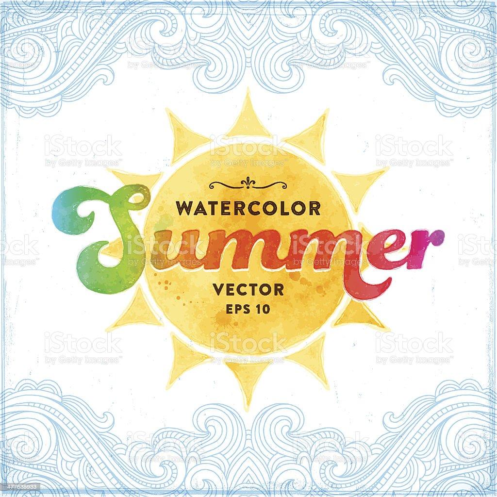 Summer Watercolor Sign vector art illustration