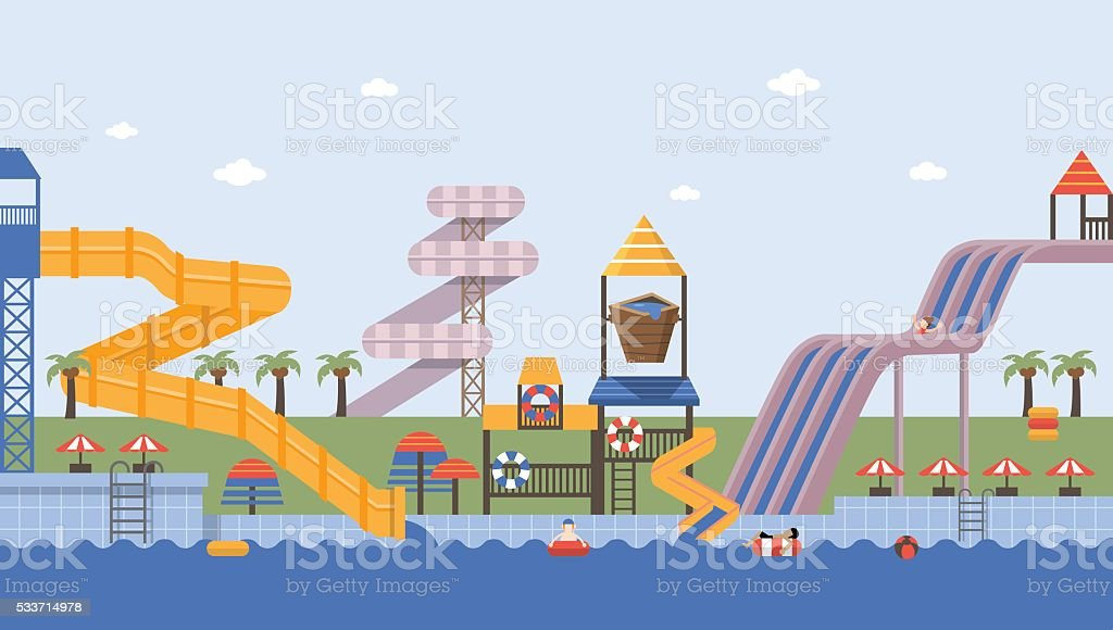 Summer waterpark vector art illustration