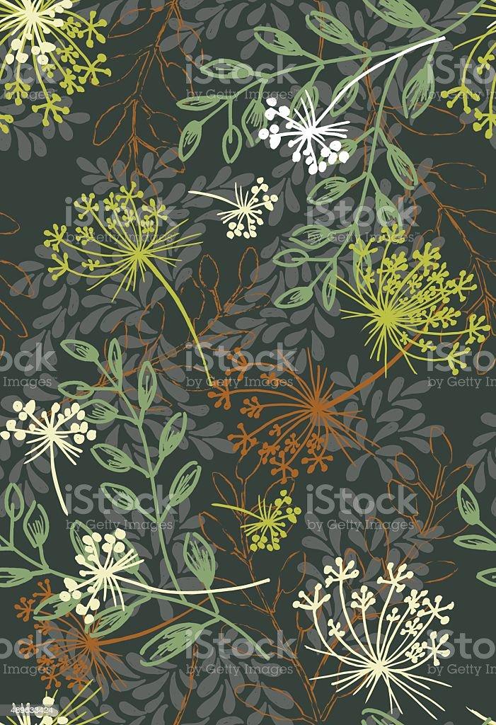 Summer Weeds Floral Seamless Pattern vector art illustration