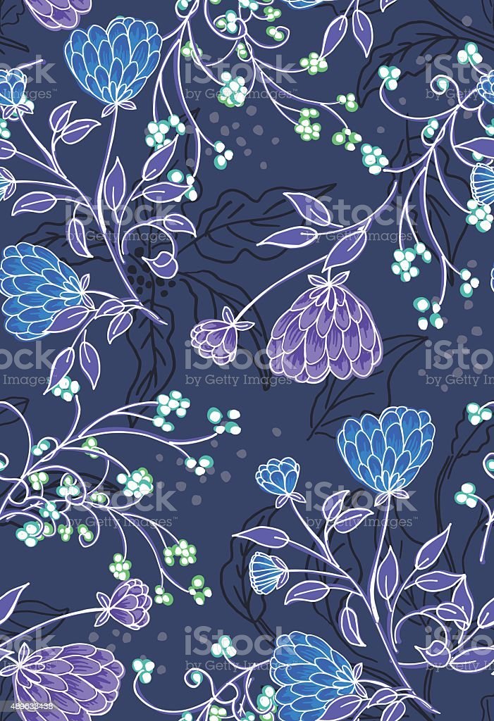 Summer Weeds Floral Seamless Pattern vector art illustration