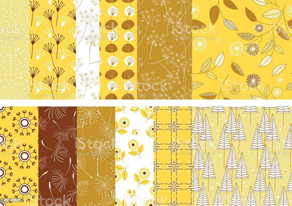 Summer Weeds Seamless Pattern vector art illustration