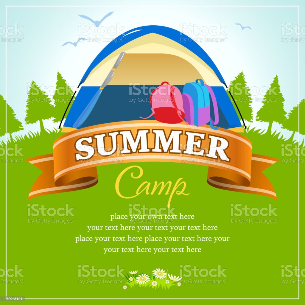 Summer Wide Camp in Nature Background vector art illustration