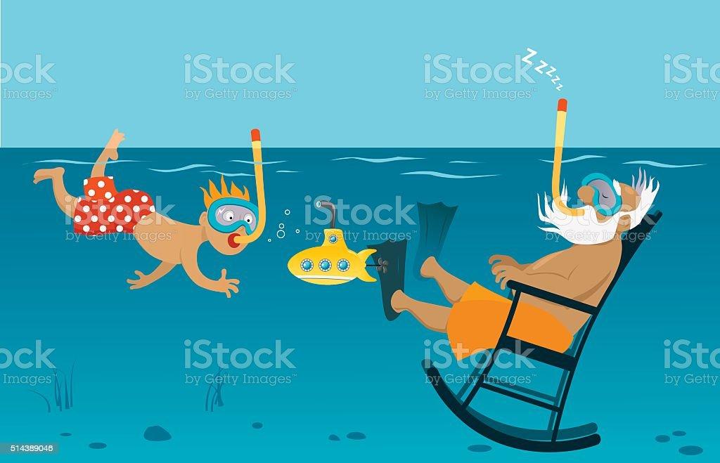Summer with grandpa vector art illustration