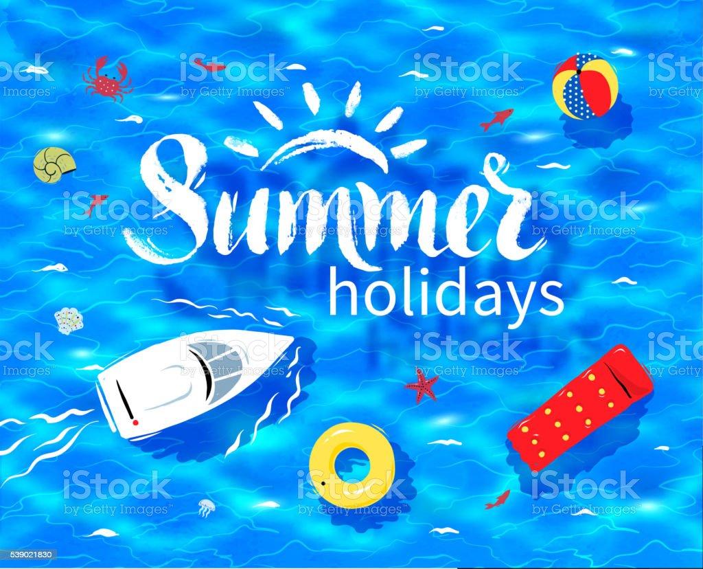 Summer word on sea background vector art illustration