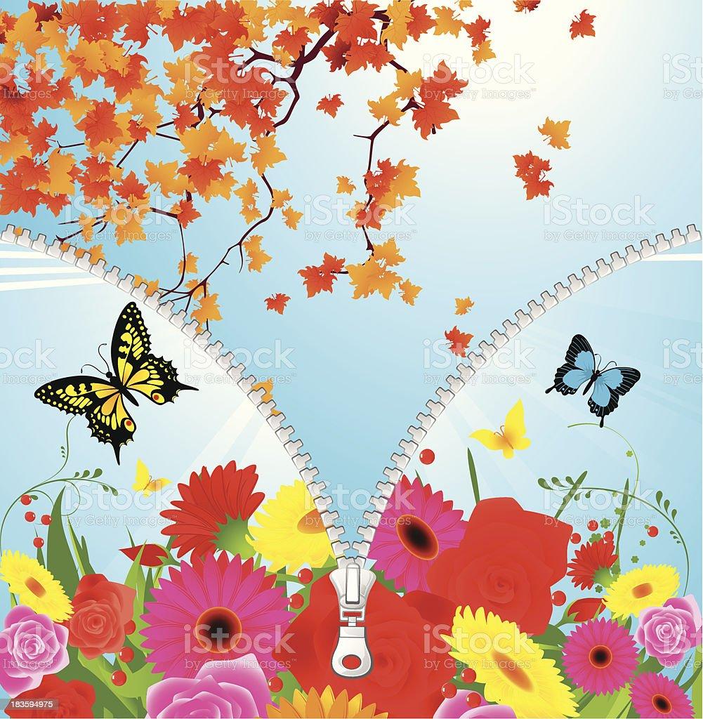 Summer-autumn season change vector art illustration