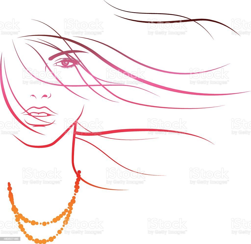 Summerbreeze in her Hair royalty-free stock vector art