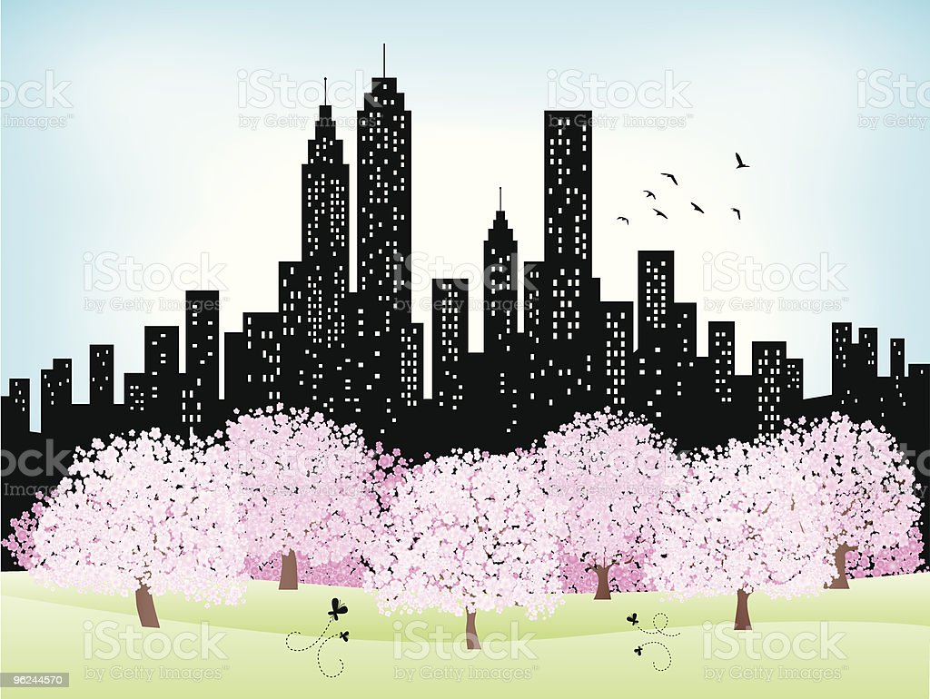 summer,spring city Skyline and Park with shining sky,trees vector art illustration