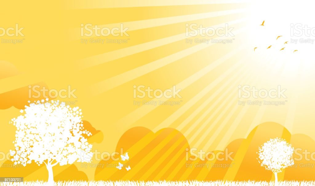 summer,spring nature view with trees silhouette, shining sun illustration royalty-free stock vector art