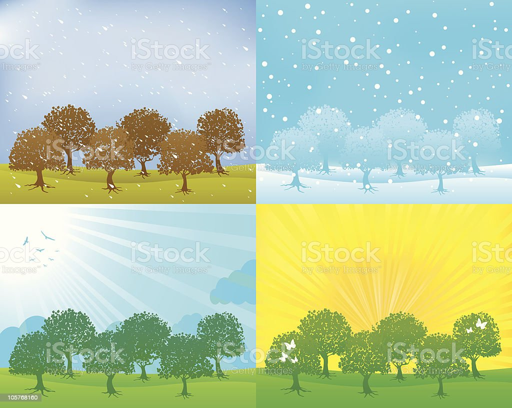 summer,spring,fall,winter seasons with tree and nature silhouettes royalty-free stock vector art