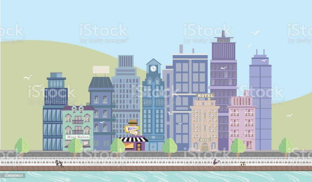Summertime Cityscape with Boardwalk vector art illustration
