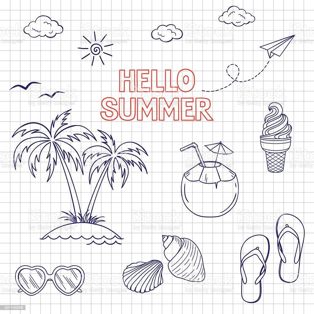 Summertime icons set vector art illustration