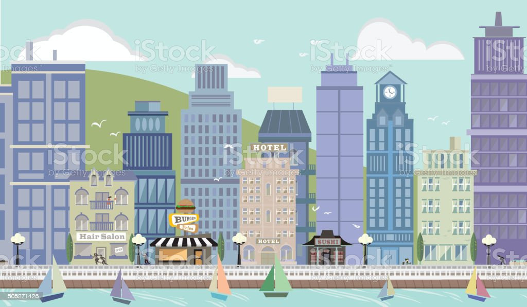 Summertime Pastel Cityscape with Sailboats vector art illustration