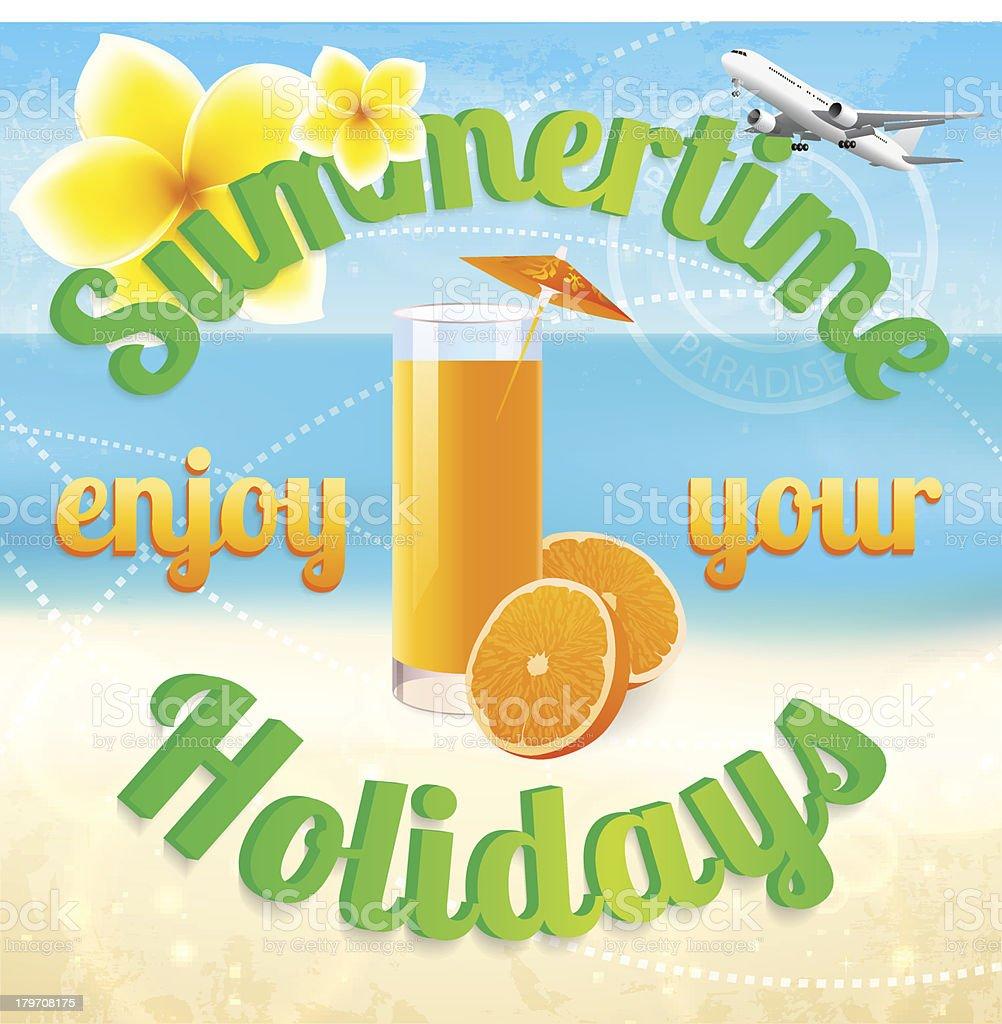 Summertime (summer vacation). Plumeria flower, airplane. Beach holidays design. Seascape royalty-free stock vector art