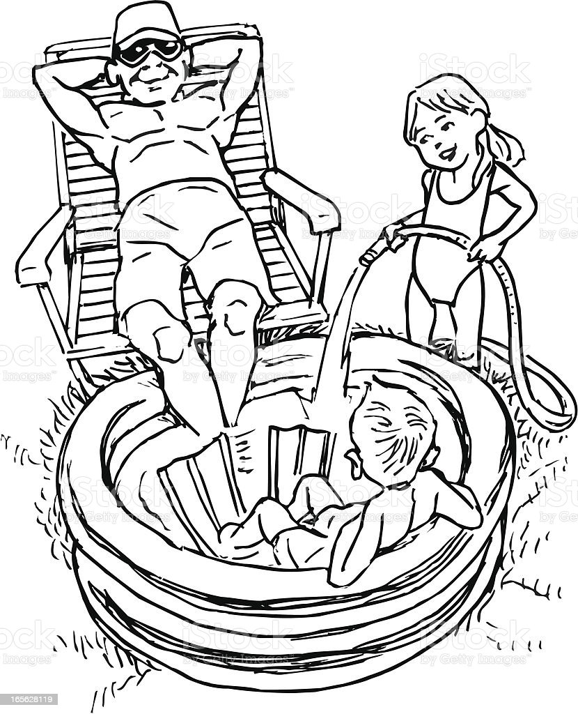 Summertime, Relaxing by the Pool with Children on Summer Day vector art illustration