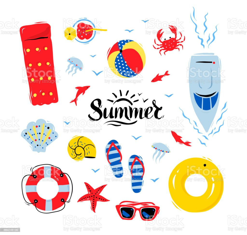 Summertime top view illustrations set vector art illustration
