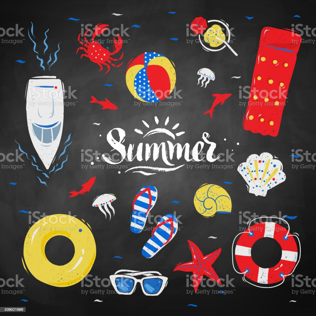 Summertime top view illustrations vector art illustration