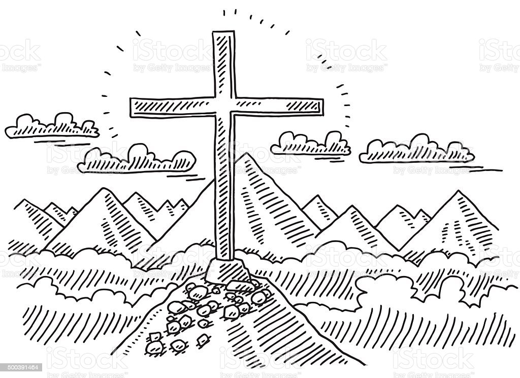 Summit Cross Mountain Landscape Drawing vector art illustration