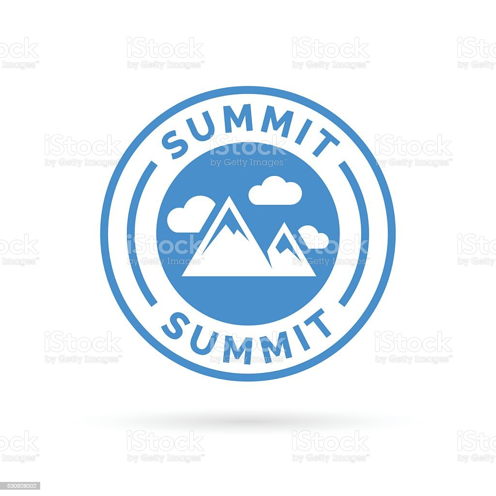 Summit icon with mountain peak symbol stamp. vector art illustration