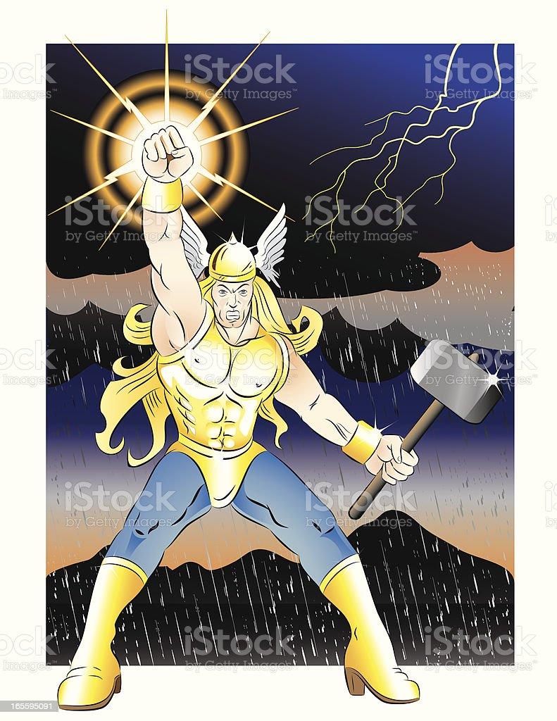 Summoning Thunder vector art illustration