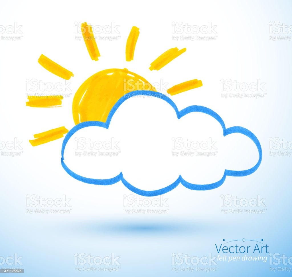 Sun and cloud. vector art illustration