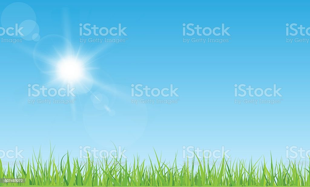 Sun and grass vector art illustration