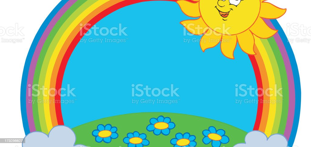 Sun and meadow in rainbow royalty-free stock vector art